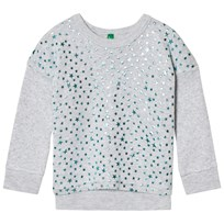 United Colors of Benetton Glitter Star Print Sweater Light Grey Light Grey