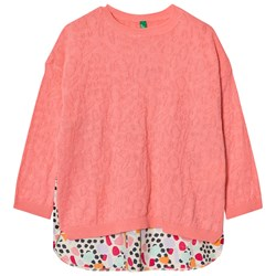 United Colors of Benetton Knit Sweater Patterned Detailing Candy Pink