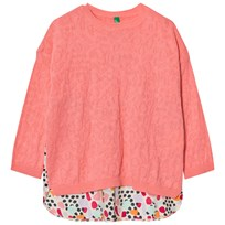 United Colors of Benetton Knit Sweater Patterned Detailing Candy Pink Candy Pink