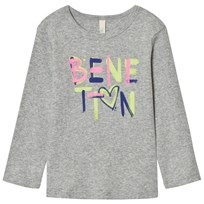 United Colors of Benetton Long Sleeve Logo Tee Light Grey Light Grey