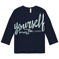 United Colors of Benetton Relaxed Fit Long Sleeve Sequin-Style Tee Navy