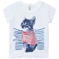 United Colors of Benetton Cat Print T-shirt with Glitter Details White
