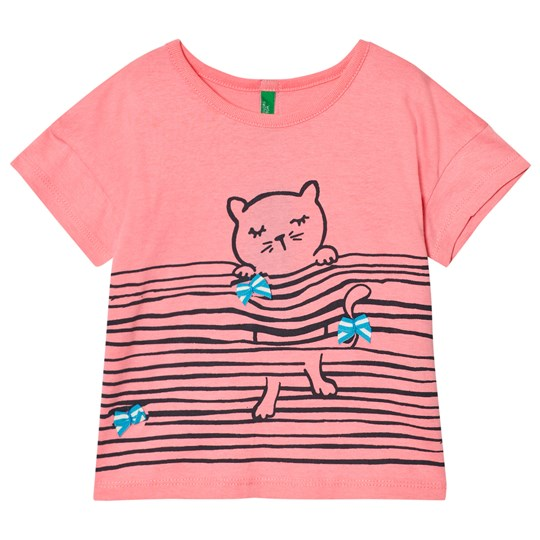 United Colors of Benetton Cat Print Tee Candy Pink Candy Pink