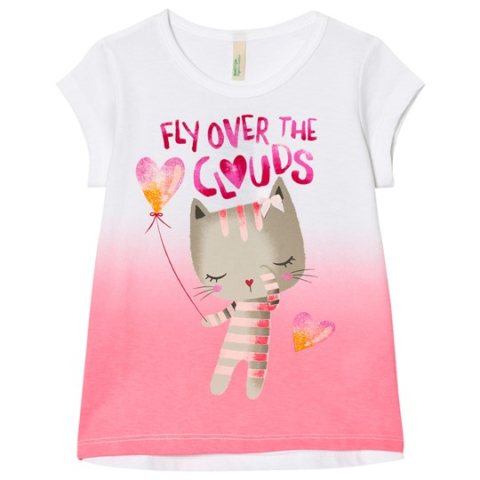 United Colors of Benetton Fade Dye Cat Print Tee Pink/White Pink White