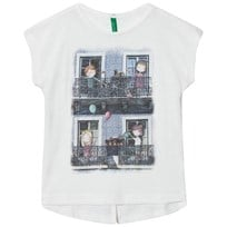 United Colors of Benetton Girl Print T-shirt Glitter Details Off White Off white