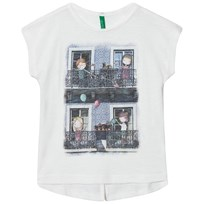 United Colors of Benetton Girl Print Off White T-shirt with Glitter Details Off white