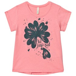 United Colors of Benetton Glitter Flower Print T-shirt Candy Pink