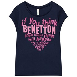 United Colors of Benetton Heart Logo Tee Navy