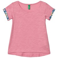 United Colors of Benetton Pink A Line T-shirt with Printed Rolled Sleeves Candy Pink