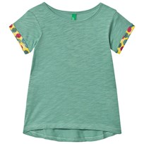 United Colors of Benetton Light Green A Line T-shirt with Printed Rolled Sleeves Light Green