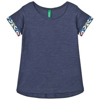 United Colors of Benetton Light Blue A Line T-shirt with Printed Rolled Sleeves Light Blue