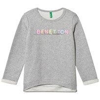 United Colors of Benetton Long Sleeve Logo Jersey Sweater Light Grey Light Grey