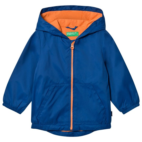 United Colors of Benetton Waterproof Zip Hooded Jacket With Contrast Colour Lining Blue Blue
