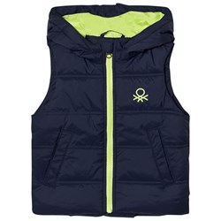 United Colors of Benetton Puffer Vest with Hood Navy