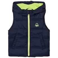 United Colors of Benetton Puffer Vest with Hood Navy Navy