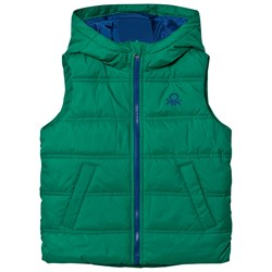 United Colors of Benetton Puffa Gilet With Hood Contrast Colour Zip & Lining Green