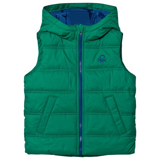 United Colors of Benetton Puffa Gilet With Hood Contrast Colour Zip & Lining Green Green