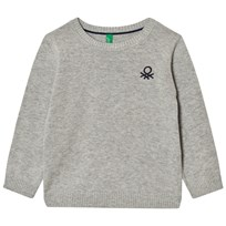 United Colors of Benetton Classic Knit Jumper with Logo Light Grey Light Grey