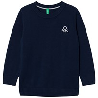 United Colors of Benetton Classic Knit Jumper with Logo Navy Laivastonsininen