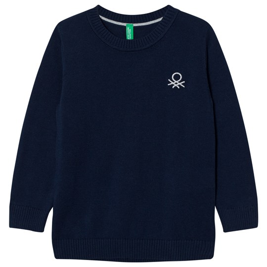 United Colors of Benetton Classic Knit Jumper with Logo Navy Navy
