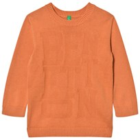 United Colors of Benetton Crew Neck Knit Large Logo Jumper Orange Orange