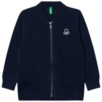 United Colors of Benetton Classic Knit Zip Logo Sweater Navy Navy