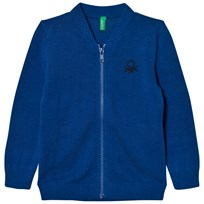 United Colors of Benetton Classic Stickad Zip Logo Tröja Blå Blue