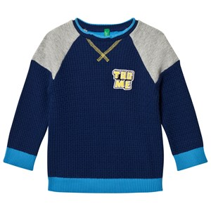Image of United Colors of Benetton Color Block Knit Blue/Navy XS (4-5 år) (2743697671)