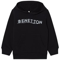 United Colors of Benetton Black Logo Hoodie With Front Pocket Black