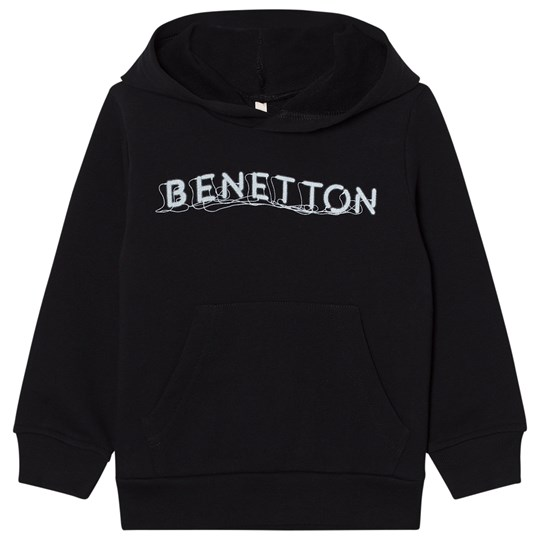 United Colors of Benetton Basic Logo Hoodie With Front Pocket Black Black