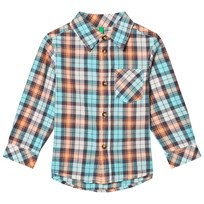 United Colors of Benetton Casual Check Shirt Aqua Aqua Multi