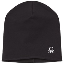 United Colors of Benetton Classic Beanie Hat with Logo Detail Black Black