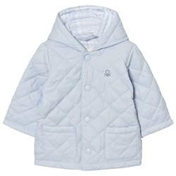 United Colors of Benetton Quilted Back Jacket with Hood Light Blue