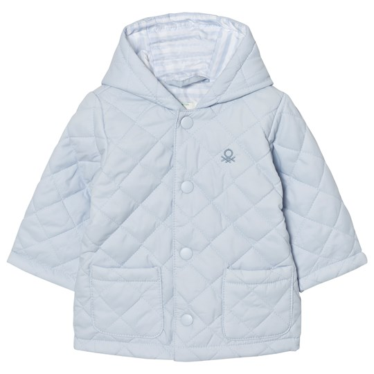 United Colors of Benetton Quilted Back Jacket with Hood Light Blue Light Blue