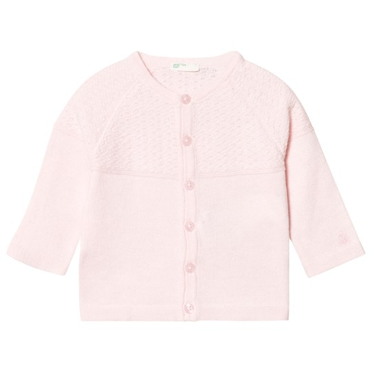 United Colors of Benetton L/s Knit Cardigan With Logo Detail Light Pink Light Pink