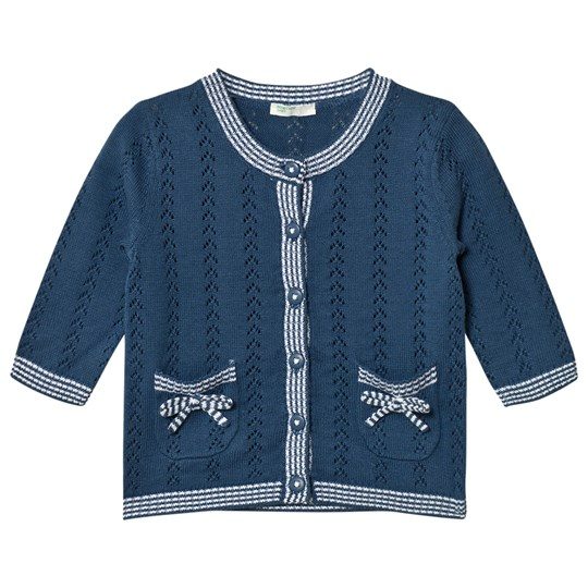 United Colors of Benetton Knit Cardigan With Bow Pockets Navy Navy