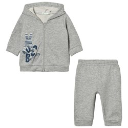 United Colors of Benetton Jersey Hooded Zip Logo Sweater & Jogger Set Grey