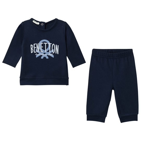 United Colors of Benetton Jersey Logo Sweater & Jogger Set Navy Navy