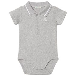 United Colors of Benetton Classic Logo Polo Baby Body Grey