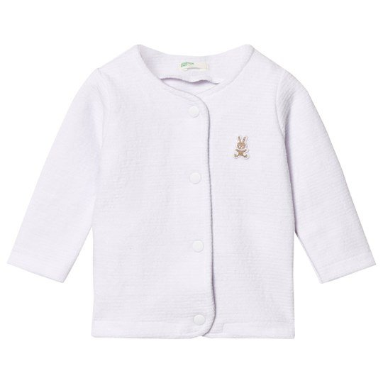 United Colors of Benetton Jersey Button Jacket with Small Bunny Logo Detail White White