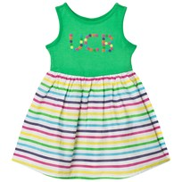United Colors of Benetton Jersey Dress with Multi Color Stripe Skirt Green Multi
