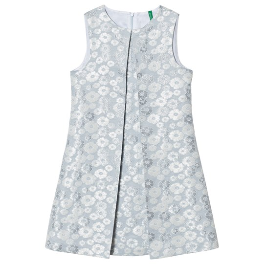 United Colors of Benetton Glitter Floral Print Sleeveless Dress With Plete Front Silver Blue Silver Blue