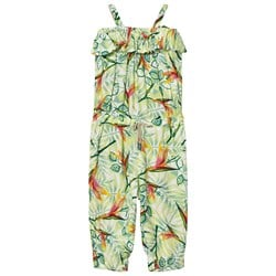 United Colors of Benetton Leaf Print Muslin Jumpsuit With Frill Neck Line Multi
