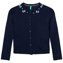 United Colors of Benetton Fine Knit Navy Cardigan with Butterfly Details Navy