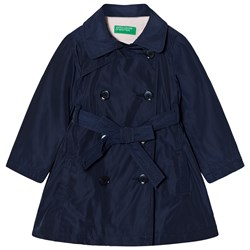 United Colors of Benetton Smart Double Brest Belted Trench Coat Navy