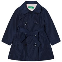 United Colors of Benetton Smart Double Brest Belted Trench Coat Navy Navy
