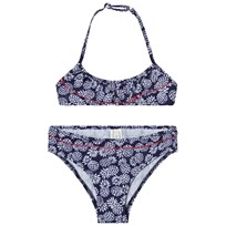 United Colors of Benetton Pineapple Print Frilly Halter Neck Bikini Marinblå Navy