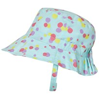 United Colors of Benetton Aqua Blue Polka Dot Sun Hat with Chin Strap Aqua Blue