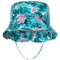 United Colors of Benetton Leaf Print Sun Hat with Chin Strap Green