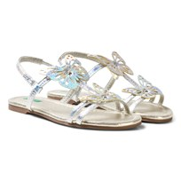 United Colors of Benetton Silver Butterfly Sandals with Ankle Straps Silver